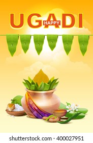 Template greeting card for holiday Ugadi. Gold pot. Illustration in vector format