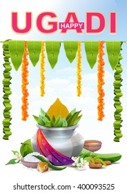 Template greeting card for holiday Ugadi. Silver pot. Illustration in vector format