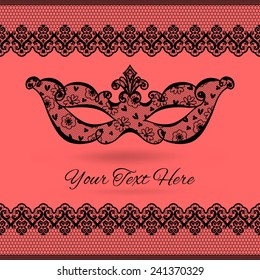 Template greeting card, invitation or a banner with a carnival mask.