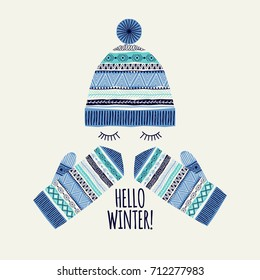 Template greeting card and invitation. Hello winter. Freehand drawing. Can be used for scrapbook, banner, print, etc.