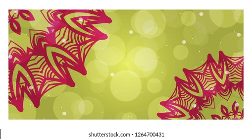 Template Greeting Card, Invitation With Space For Text. Mandala Design. Vector Illustration