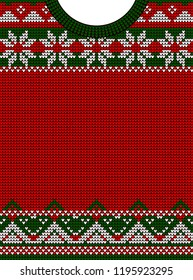 Template for greeting card or party invitation in an ugly sweater. The concept of Christmas and the new year. knitted scandinavian pattern. flat vector illustration