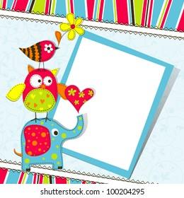 Template greeting card, vector scrap illustration.