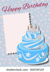 Template greeting card with the words Happy Birthday and place for text. Tiered cake with blue icing, whipped cream, roses and candles. Blue background with hearts.