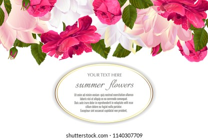 Template for greeting cards, wedding decorations, invitation,sales. Vector banner with Luxurious roses and tulips flowers. Spring or summer design.