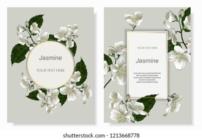 Template for greeting cards, wedding decorations, invitation, sales, packaging. Set of Vector banner with Luxurious jasmine flowers. Spring or summer design. Vintage style.