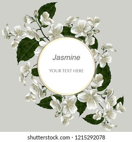 Template for greeting cards, wedding decorations, invitation, sales, packaging. Round Vector banner with Luxurious jasmine flowers. Spring or summer design.