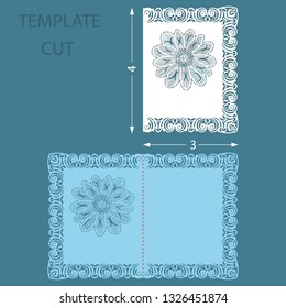 Template greeting congratulatory card with a decorative border on the edge. Wedding invitation laser cut. Card with a carved flower pattern. Vector.