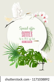 Template for greeting card, invitation or banner  with tropical plants, palm leaves, monsters and orchids with white heron. Colored vector illustration.
