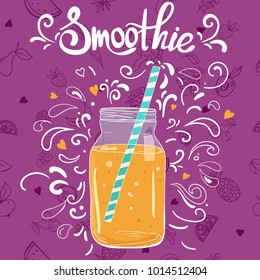 Template with hand drawn jar with smoothie in bright colors