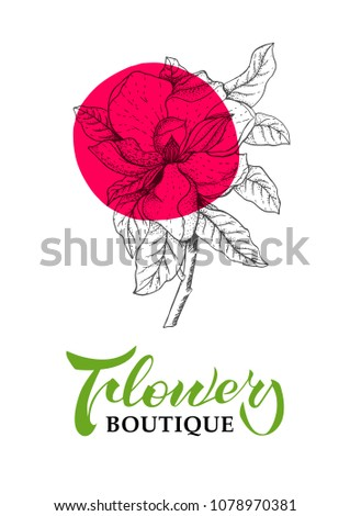 Template handwriting lettering magnolia flower design stock vector template with handwriting lettering and magnolia flower design for logo cards banners of maxwellsz