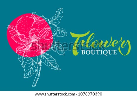Template Handwriting Lettering Magnolia Flower Design Stock Vector
