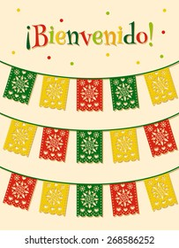 "template with hanging traditional mexican flags and spanish text ""bienvenido"" translated as ""welcome"""