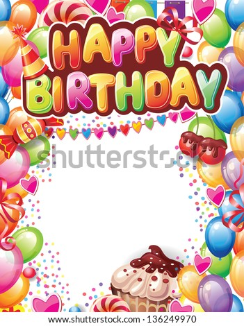 Template Happy Birthday Card Stock Vector Royalty Free 136249970