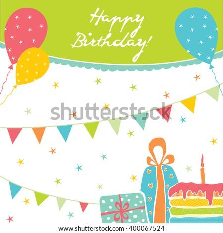 Template Happy Birthday Card Image Vectorielle De Stock Libre De