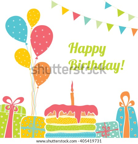 Template Happy Birthday Card Place Text Stock Vector Royalty Free