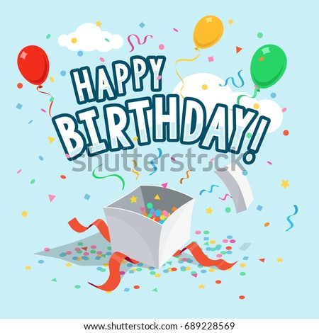 Template Of Happy Birthday Greeting Card With Balloons Gift Box And Ribbons On Light Blue