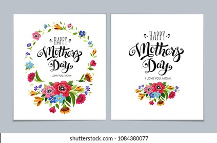 Template Happy Mother's Day greeting cards on light blue background. Elegant realistic Happy Mother's Day cards. Lettering Happy Mothers Day in flower frame
