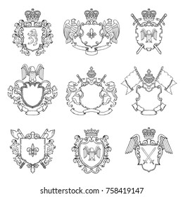 Template of heraldic emblems. Different empty frames for logo or badges design. Vector heraldic badge vintage with sword and eagle illustration