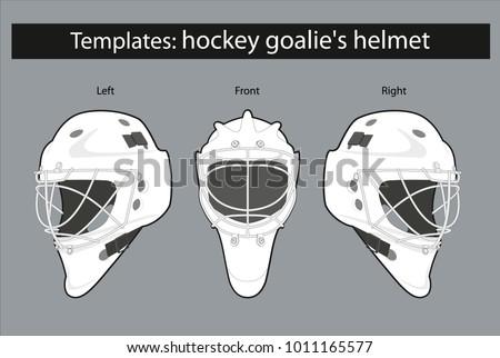 Template Hockey Goalies Helmet Drawing Patterns Stock Vector