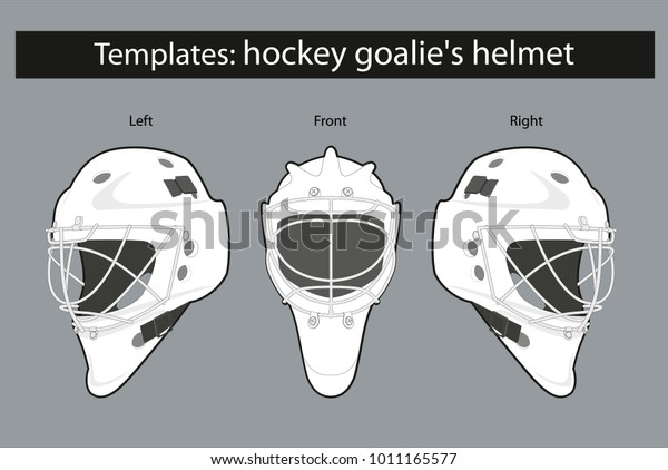 Template Hockey Goalies Helmet For Drawing Stock Vector Royalty