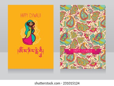 template for holiday design in indian style, cute doodle indian woman, vector illustration