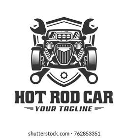 template of Hot Rod car logo, HotRod vector emblem, Vector Hot Rod car logo design, hotrod vector