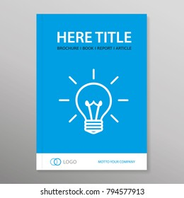 Template with icon of bulb. Vector brochure, annual report, book cover, offer, price list, audit report. Use for  technology, innovation, energy etc. Colored - Blue,  white, black. Eps 10.