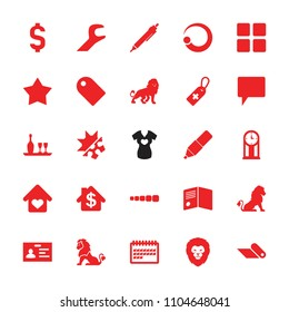 Template icon. collection of 25 template filled icons such as lion, badge, pen, medical cross tag, calendar, chat, star, wrench. editable template icons for web and mobile.