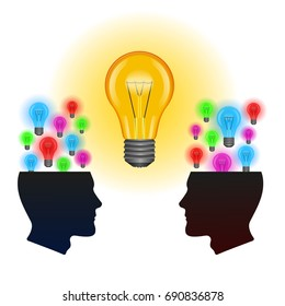 Template with ideas arising in the minds.Ideas in the form of light bulbs in the head