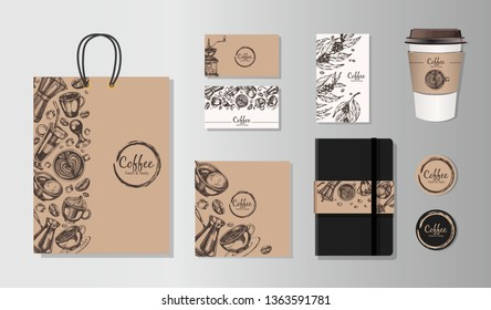 Template identity. Coffe shop, coffee mug, coffee take away