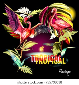 Template illustration of tropical theme with leaves and two flamingos on dark. Hand drawn, vector - stock.