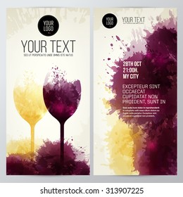 Template with illustration of wine glasses. Colors and expressive design with wine stains. vector