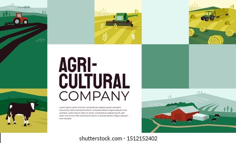 Template with illustrations of agriculture, farming, livestock, hayfield, cow, pasture, tractor plows on field, landscape, countryside, industry. Design for banners, annual report, prints, flyer, web.