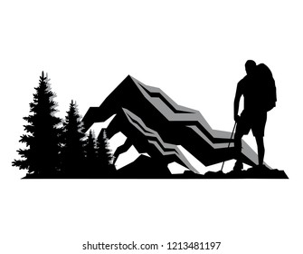 template illustrator vector silhouette backpacker enjoying of a mountain n trees valley landscape view. concept design for apparel t shirt