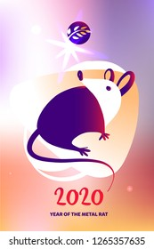 Template image for Happy new year party with violet rat, mice on color background. Lunar horoscope sign mouse. Chinese Happy new year 2020. Funny sketch mouse with long tail. Vector illustration.