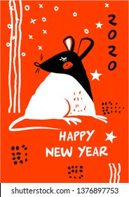 Template image for Happy new year party with rat, mice on orange background. Lunar horoscope sign mouse. Chinese Happy new year 2020.  Vector illustration.