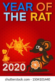 Template image Year of the rat, mice on  background. Lunar horoscope sign mouse. Chinese Happy new year 2020. Funny sketch mouse with long tail. Vector illustration