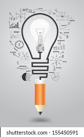 Template infographic. Business strategy plan concept idea, Light bulb with icons modern business and pencil. Vector illustration layout  template design