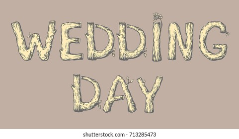 Wood letters images stock photos vectors shutterstock a template for invitation card colored engraving letters wedding day made of wood with spiritdancerdesigns Gallery