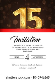 Template of invitation card to the day of the fiftieen anniversary with abstract text vector illustration. To 15 th years eve card invite