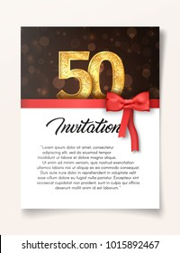 Template of invitation card to the day of the fiftieth anniversary with abstract text vector illustration. Card to 50 th years eve  invite