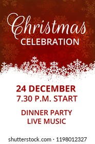 Template of invitation for Christmas celebration with snowflakes border
