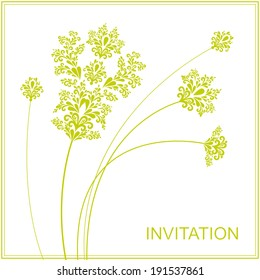 Template invitation with filigree flowers