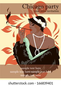 Template for invitation for flapper party with smoking woman, vector illustration