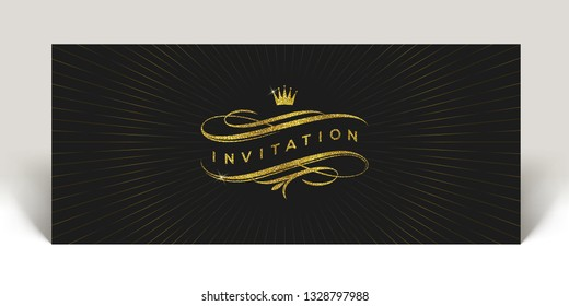 Template invitation with glitter gold flourishes elements and crown  - vector illustration