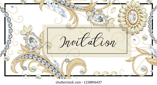 Template of invitation with golden sewing and jewelry