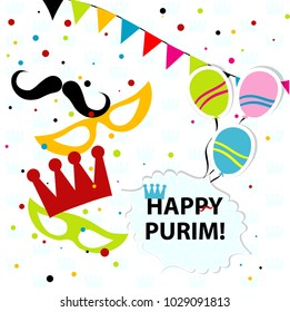 Template Jewish holiday Purim greeting card, crown, vector illustration.