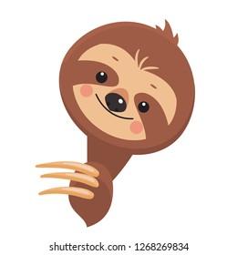 Template of Joyful sloth . Vector illustration. Cartoon slyle.Isolated on white background