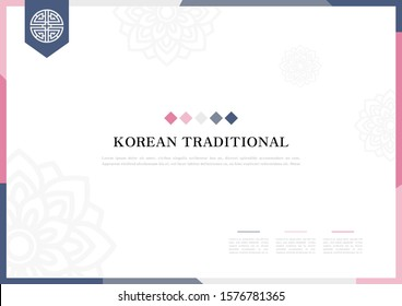 Template with Korean tradition pattern background.
